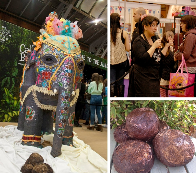 Here's our Rosie Cake-Diva giving the nutritional information of the chocolate elephant poos to the Cake & Bake Show crowd