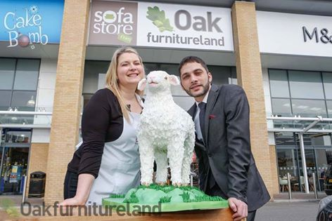Francesca with 'Baa Larkin' and Amir Hawila of Oak Furniture Land, Maidstone.