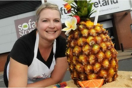 Francesca with the Pineapple Cake at Oak Furnitureland Store in Broadstairs
