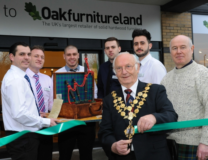 Opening of Oakfurnitureland on the Salmon Retail Park, Holmer Road, Hereford. 23-01-2016. from left: Marc Metcalfe, Manager Anthony Neary, Jamie Williams, Vince Norris, Mayor of Hereford Councillor Charles Nicholls, Alexander Price, Gavin Pettigrew (Herefordshire Burns Club).