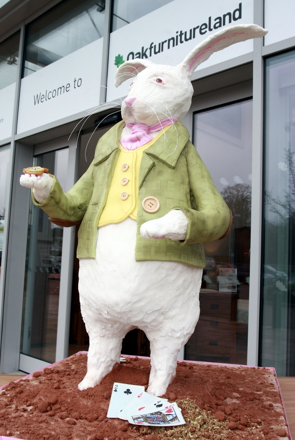 The new Oak Furniture Land Store on the Great Lodge Retail Park in Tunbridge Wells was offically opened by Cllr David Neve on Saturday. A replica cake of the White Rabbit from Alice in Wonderland was being donated to Groombridge Place after the opening. The cake was made by Maidstone based cake artist Francesca Pitcher of North Star Cakes